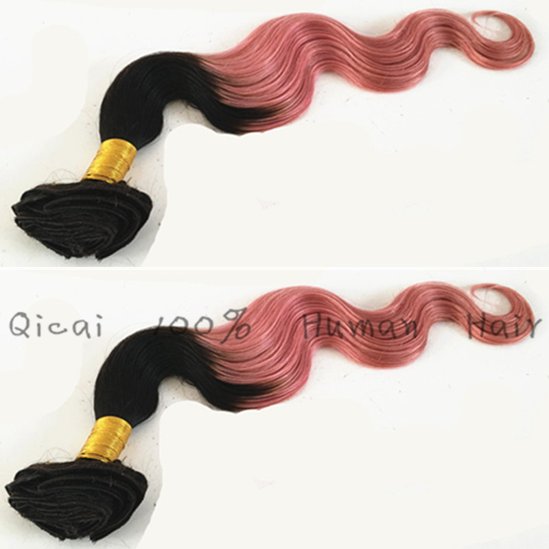 Ombre 2 Tone 1B/Pink Clip In Hair Brazilian Virgin Remy Human Hair Body Wave10pc/set Pink Clip In Human Hair Extensions
