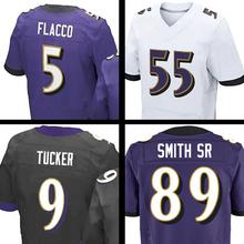 Mens #89 Steve Smith Sr #5 Joe Flacco Terrell Suggs #9 ustin Tucker Purple Black White Elite jersey 100% Stitched Logos(China (Mainland))