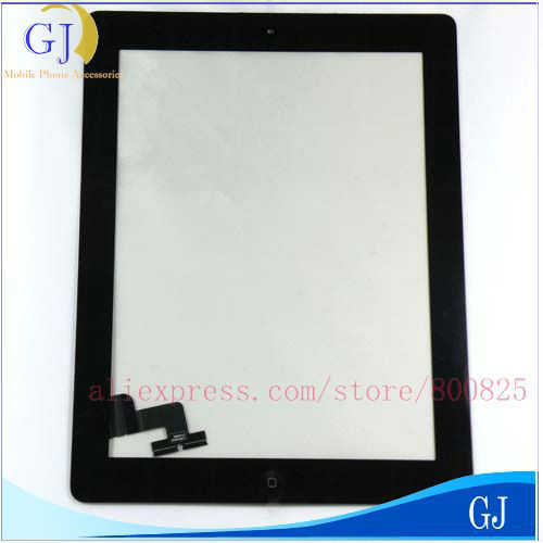 Brand New Black & White Touch Panel Screen Digitizer Glass + Home Button Key complete assembly For iPad 2 , Free Shipping(China (Mainland))