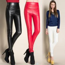 2016 Thicken Winter PU Leather women pants high waist elastic fleece stretch Slim woman pencil pants candy colors(China (Mainland))