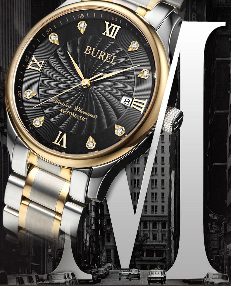 BUREI 1001 Швейцария часы мужские роскошные подлинные алмазы Чайка ST1612 автоматический self-ветер календарь из нержавеющей стали