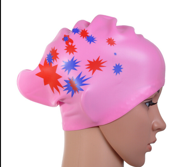 Star pattern girl fashion waterproof silicone swimming cap/hat woman long hair and ear cup Eight kinds of color(China (Mainland))