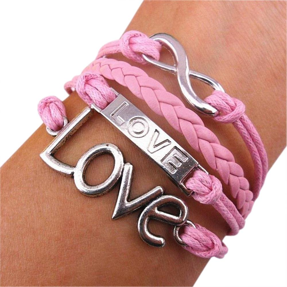 FS Hot eFuture(TM) Pink Romantic Vintage Handmade Love Leather Rope Knit Infinity Bracelet/Wristband +eFuture's nice Keyring(China (Mainland))