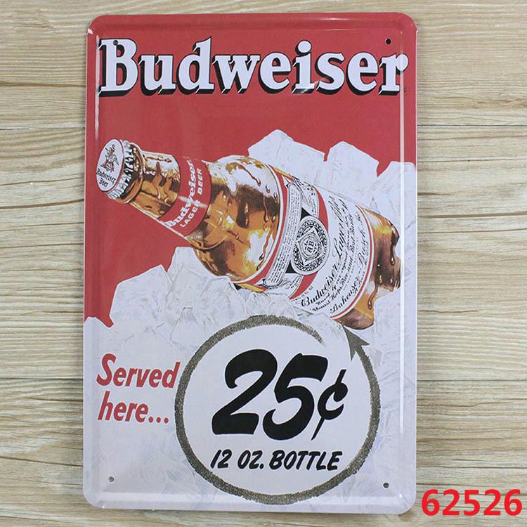 "RB-0509 ""Budweiser""vintage home decor metal Tin signs metal plaques for bar wall art craft 20X30 C(China (Mainland))"