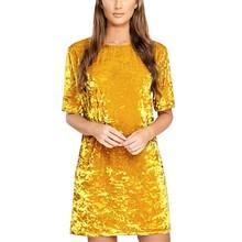 Fashion Women Spring Dress Pure Color Soft Casual Gold velvet Dresses Half Sleeve Casual Sexy Line Vestidos(China (Mainland))