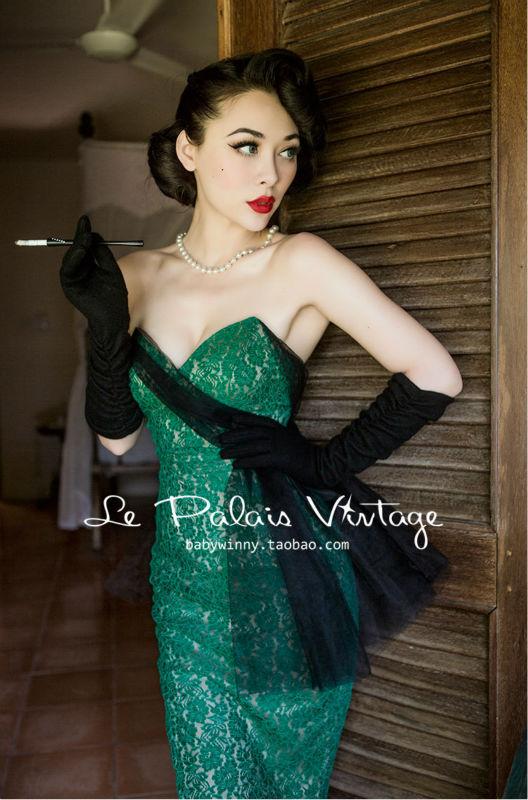 Le Palais Vintage Limited elegant retro emerald lace bodice thin bone wrapped strapless dress(China (Mainland))