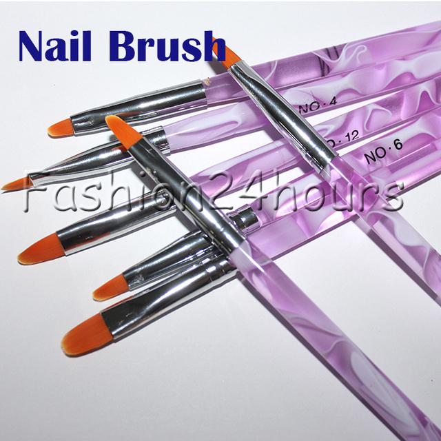 7pcs UV Gel Acrylic Nail Brush Set Art Builder Painting Pen Design Free Shipping