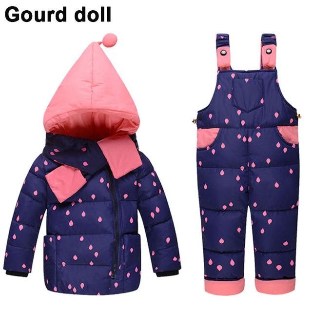 куртка для девочки парка пуховик детские девушки 90% Теплый Утка Вниз одежда набор детей зимняя куртка комбинезоны девушки вниз и парки Подходит 2-4 лет