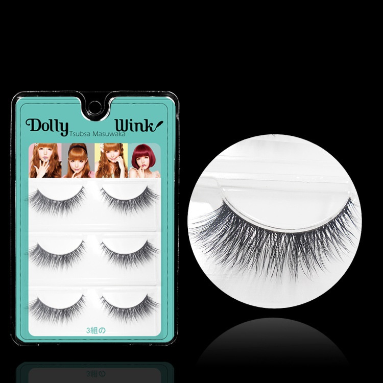 Dolly Wink 3 Pairs/Lot 3D Double Layer False Eyelash Extension MX08 Makeup Cosmetics Natural Winged Crisscross Fake Eye Lash - LBB Commercial Co., Ltd. store