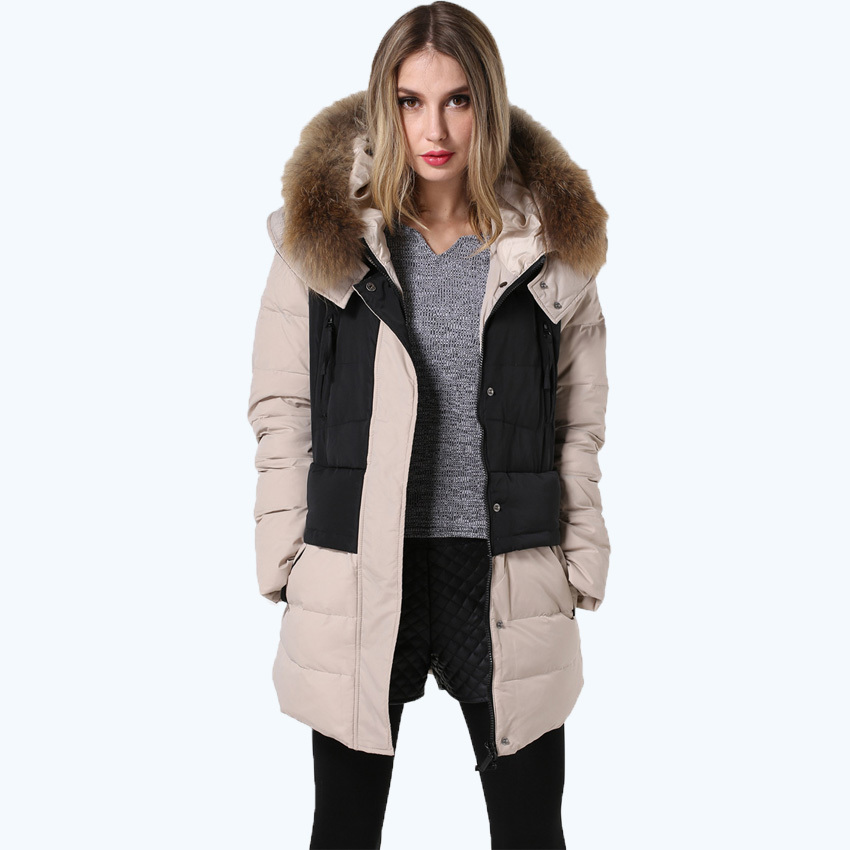 2015 Free shipping women coat fashion design hooded with fur collar spliced slim fit plus size duck down jacket women 249Одежда и ак�е��уары<br><br><br>Aliexpress