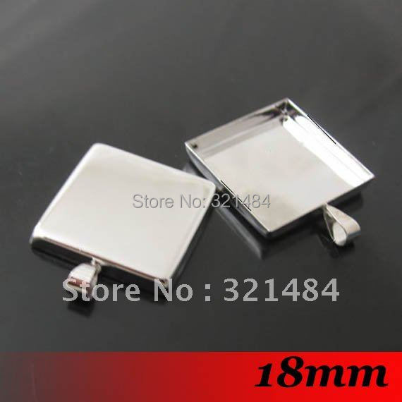 Free ship! 100piece 18mm Silver Plated Tone Metal Square Pendant blanks and base trays bezel cameo cabochon setting<br><br>Aliexpress
