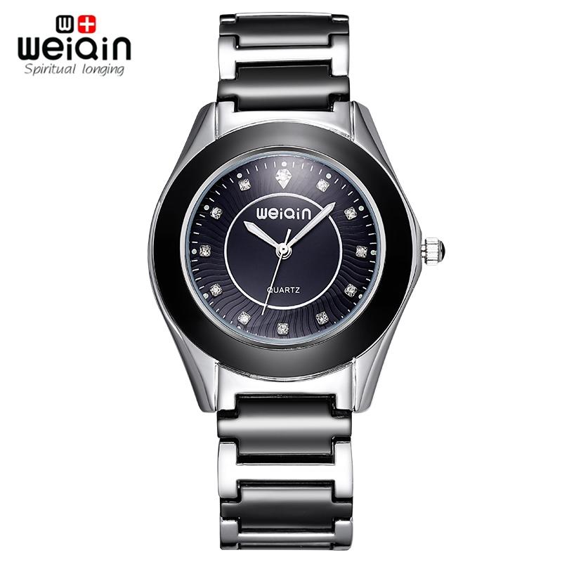 WEIQIN Crystal Dial Silver-Black Ceramic Band Women Watches Ladies Fashion Waterproof Quartz Wrist Watch Hours Female Relogios(Hong Kong)