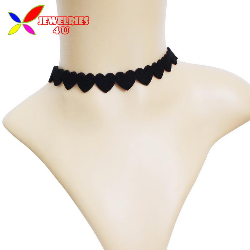 2016 Hot Fashion Trendy Sweet Black Love Heart Velvet Leather Collar Choker Necklaces for Women Jewelry(China (Mainland))