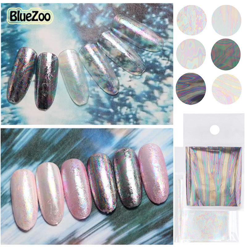 BlueZoo 6 colors/pack Transfer Foil Nail Stickers Decals Full Cover Shell Sky Sequin Nail Beauty Stickers DIY Decorations Nail(China (Mainland))