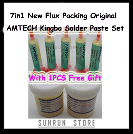 FREESHIPPING NEW 7in1 Mixed Solder Flux Paste Kit For BGA Rebaling Kingbo RMA-218/10CC Original AMTECH Flux Set +1pc Free Gift(China (Mainland))