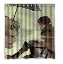 Custom Attack on Titan Shower Curtain Waterproof Polyester Fabric Shower Curtain Size 150x180cm L-15