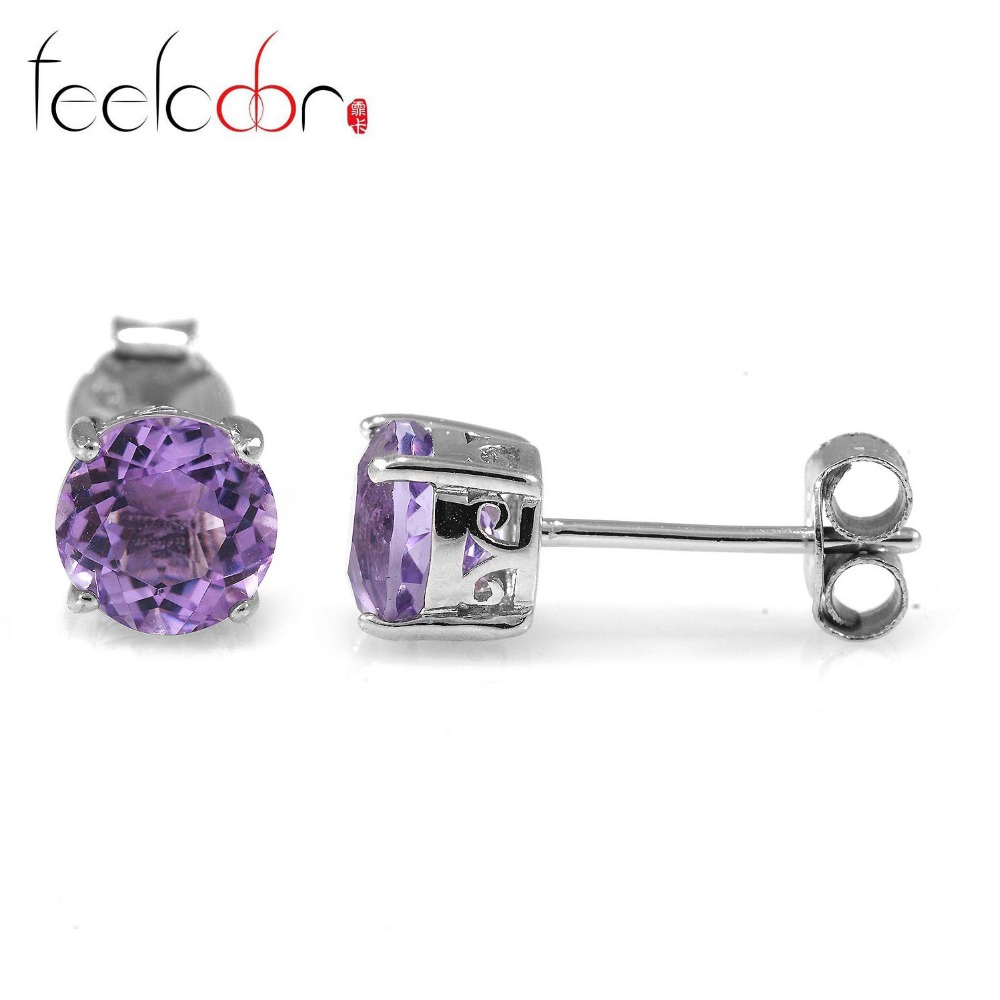 Fine Natural Stone Amethyst Stud Earrings Solid 925-Sterling -Silver Fashion Purple Crystal Jewelry For Women Vintage Charm Gift<br><br>Aliexpress