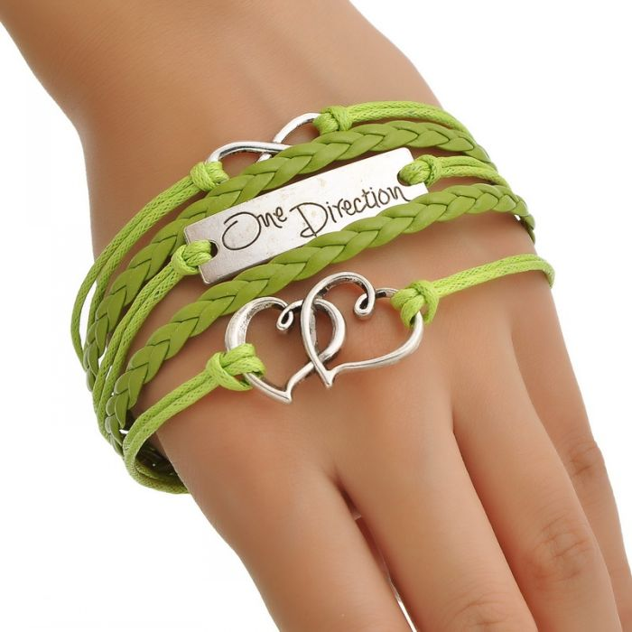 "Wax Rope Braiding Bracelets Grass Green Antique Silver Double Hearts&Infinity Findings ""One Direction"" 17.5cm,1Pc Mr.Jewelry(China (Mainland))"