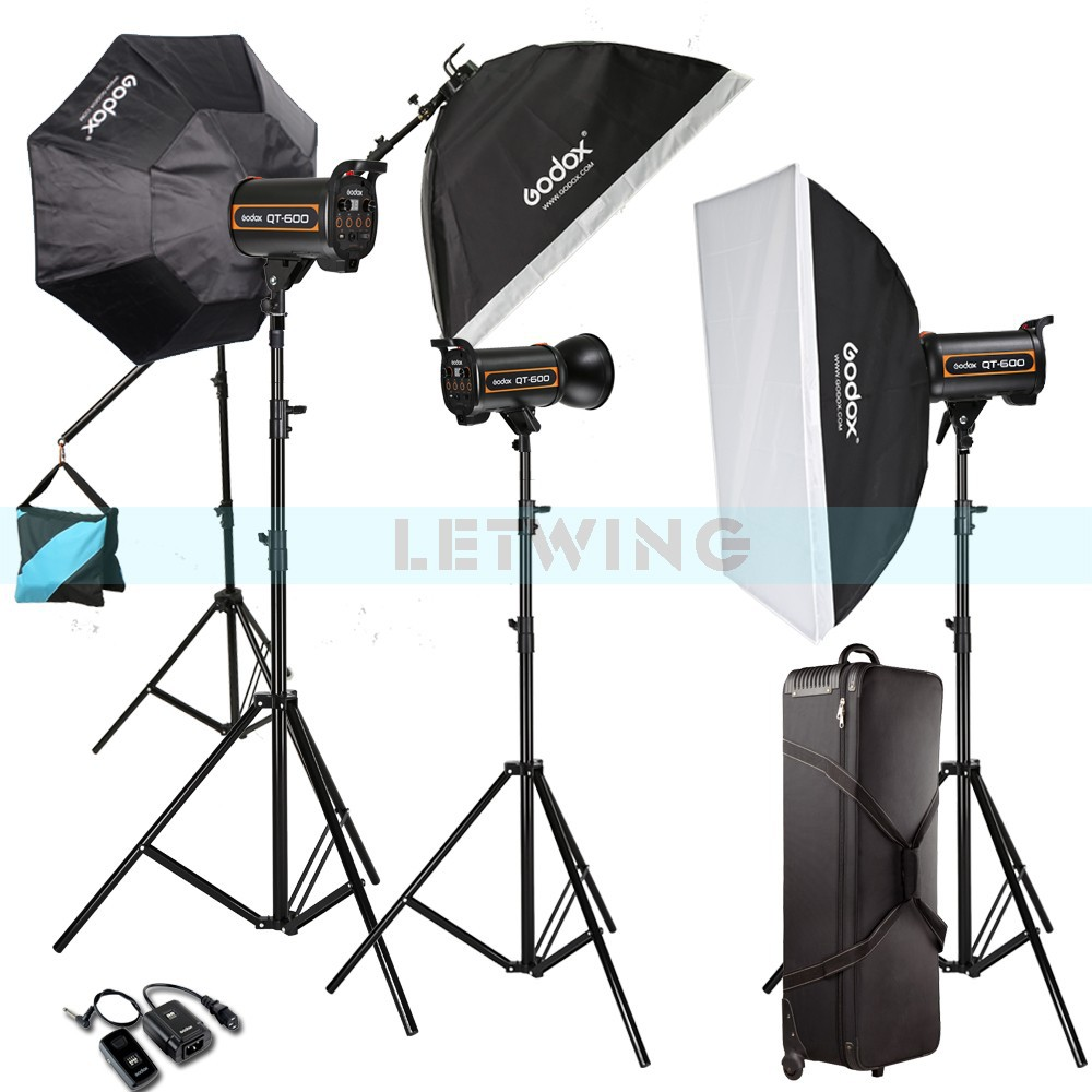 Godox 1800W 3X 600W High Speed Flash Light Studio Strobe lighting &amp; Softbox &amp; Light Stand Professional Photography Kit<br><br>Aliexpress