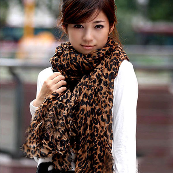 Ladies Long Large Scarves Georgette Gauz Wrap Scarf Shawl Sexy Leopard Fashion(China (Mainland))