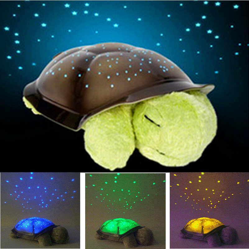 Free Shipping 4 Colors Cute Design Turtle Led Night Light Stars Projector for Baby Lamp Toy With 4 Light Music Turtle Lamp(China (Mainland))