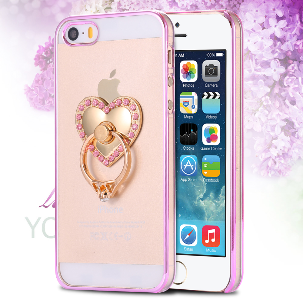 5S Bling Diamond Animal Clear Cover For Apple iPhone 5 5S Metal Plating Tiger Ring Stand Holder Ultra Hard Back Case Accessories(China (Mainland))