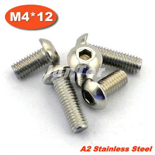 100pcs/lot ISO7380 M4*12mm Stainless Steel A2 Hexagon Socket Button Head Screws<br><br>Aliexpress