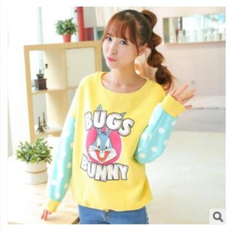 New 2015 Autumn Fashion women plus size hoody Long sleeve fleece Sweatshirts Cartoon animal Print casual sport suit women(China (Mainland))