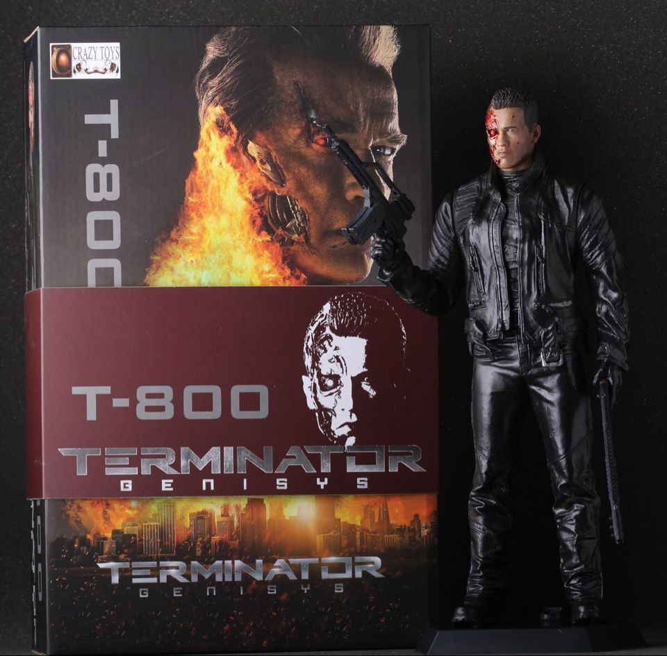 "Crazy Toys the Terminator Double Guns Battle Damaged Ver. T-800 PVC Action Figure Collectible Model Toys Doll 12"" 30cm KT169(China (Mainland))"