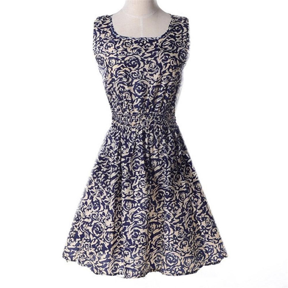 Women Dresses Summer Style Dress Floral Printed Pattern Chiffon Plus Size XXL Blue Green Purple Black White Flower 001#AL3()