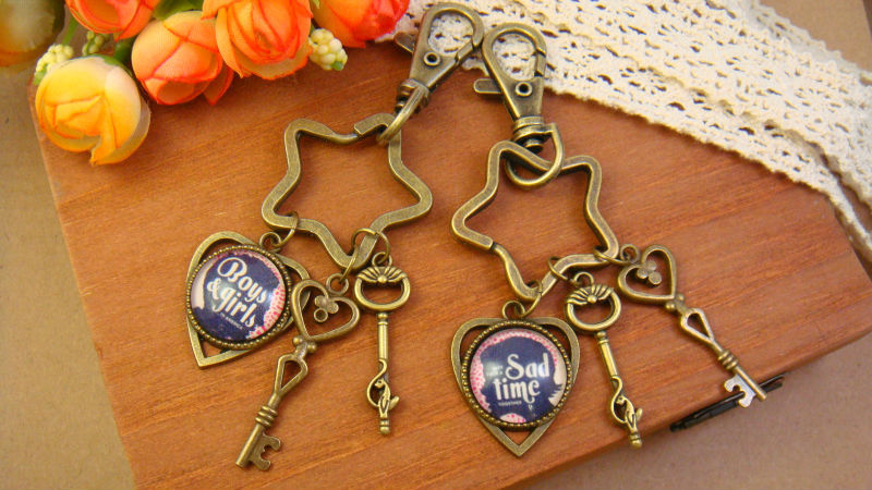 trendy dome glass vintage Bronze alloy couple Key Chain Keychain Harajuku Key buckle Cartoon Cute funny lovers' gift fashion(China (Mainland))