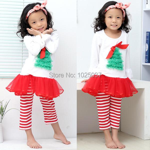 Christmas Long Sleeve Top Dress Pants Set With Tree Red Chiffon Christmas Tutu Dress Girls Party Clothing Free Shipping(China (Mainland))