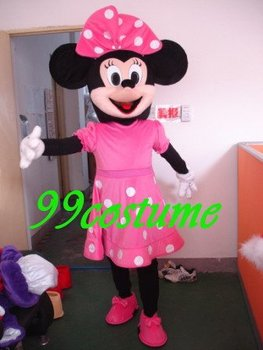 Free Shipping Adult Size  Minnie Mouse Cartoon Cosplay Mascot Costume Cosplay Christmas Hallowmas Party Dress