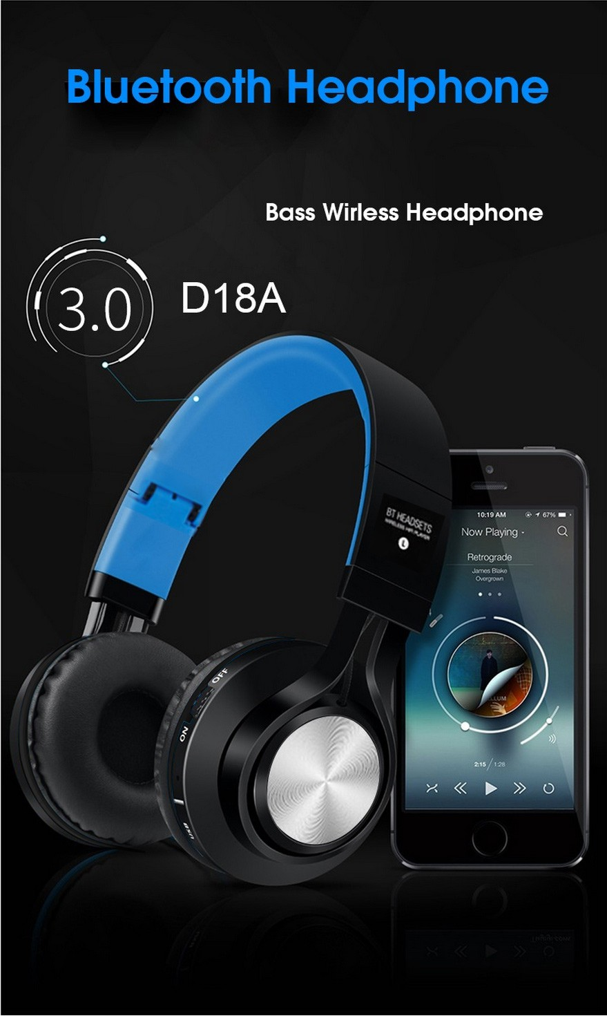 Wireless Bluetooth Headphones with Microphone Stereo Cordless Blue tooth Headset for iPhone 6 6S Plus Samsung Galaxy Xiaomi