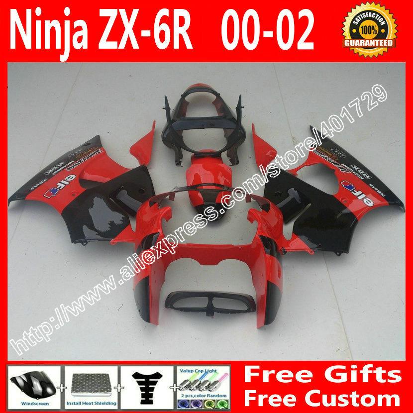 brend new Fairings for2000 2001 2002 Kawasaki ZX6R 636 parts 00 01 02 black red fairing kit AF84(China (Mainland))