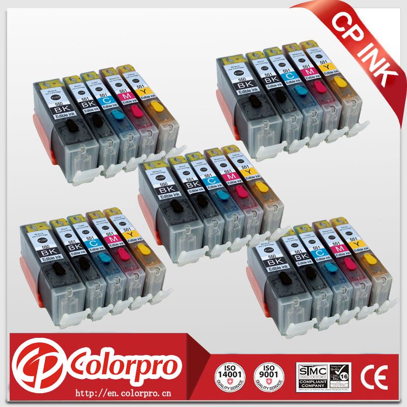 25PK (5BK/5PBK/5C/5M/5Y) PGI-550 CLI-551 Edible ink cartridge Canon printer PIXMA MG5450/MG6350/IP7250/MX925