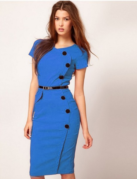 High Street Vestidos Gown V-Neck Knee-Length Button Women Work Wear Office Dress Bandage Casual Pencil Party Dresses Plus Size(China (Mainland))