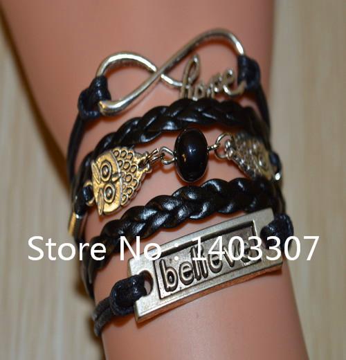 1Pcs 2014 Hot Sale Sliver Plated Double Owl Bead Believe Infinity With Hope Bracelet Bangle Women Sell Like Hot Cakes Bracelet(China (Mainland))
