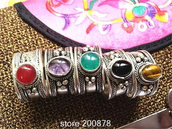 R033  Tibetan Silver Inlaid Colorful Beads Rings,Tibet Antiqued Vintage open rings,Mix Wholesale Tibetan Handmade Ring