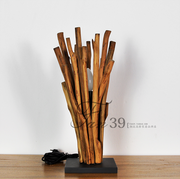 Imported products / American country style / lighting / recycling old teak table lamp / designer lamps(China (Mainland))