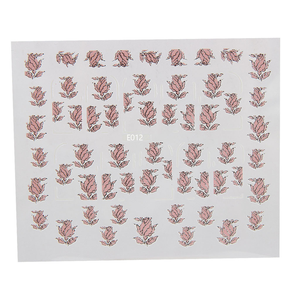 3D Embossed Pink Flowers Design Nail Art Decal Tips Stickers Sheet Manicure g6727