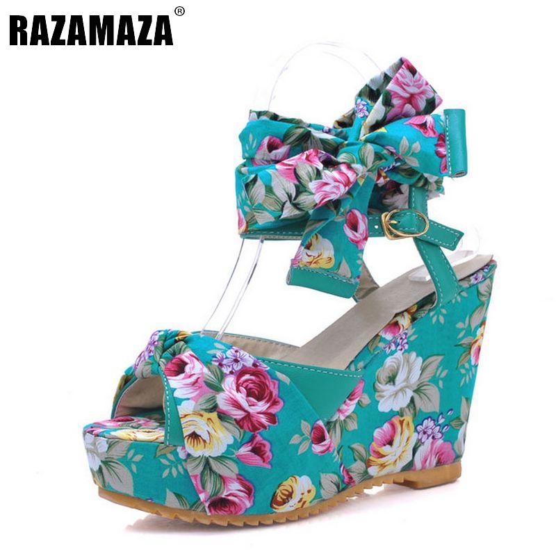 Fashion Hot Wedges High Heel Sandals Female Shoes Women Platform Shoes Lace Belt Bowtie Flip Flops shoes Size 34-39 PA00834(China (Mainland))