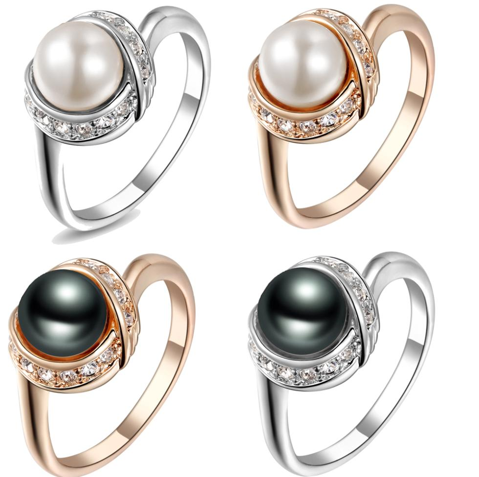 Real Italina Rigant Genuine Austria Crystal 18K gold Plated Pearl Rings for Women Anti Allergies New Sale Vintage Rings#RG93137(China (Mainland))