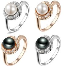 Italina Rigant 18K Real Rose Gold Plated Pearl Ring/jewelry rings for women With Swarovski Crystal Stellux Top Quality #RG93137