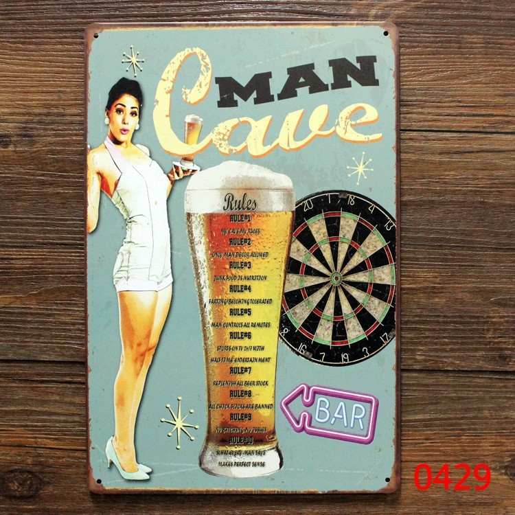Man cave for beer vintage tin plate sign retro metal signs decor the wall of bar