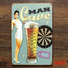 Man cave for beer, vintage tin plate sign retro metal signs,decor the wall of bar club pub and cafe, free shipping 30cm*20cm