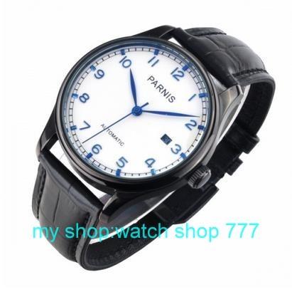 2016 новая мода 43 мм ПАРНИС Азии ST2530 автоматические механические движения мужские часы ПВХ черный корпус часов 000286
