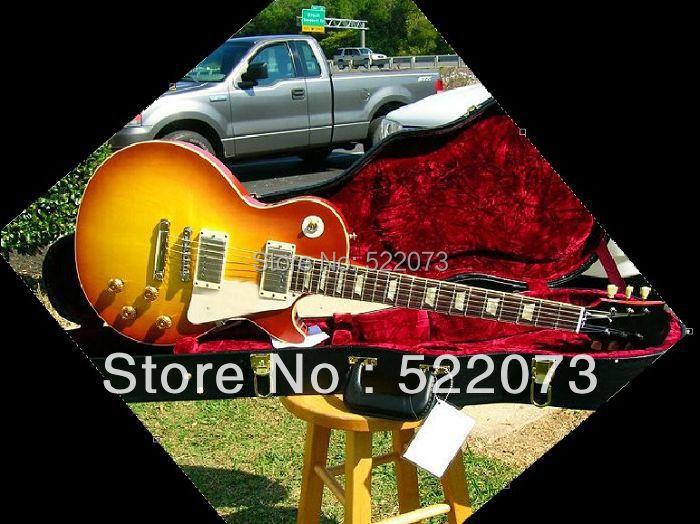 best Factory Mahogany guitar Custom Shop 1958 Plain Top Reissue Iced Tea Sunburst VOS electric guitar(China (Mainland))