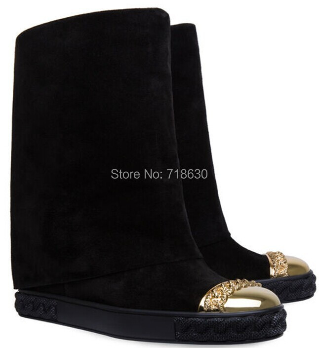 2015 Casade Brand Genuine Leather Boots Gold Toe Wedges Comfortable Women, Height Increasing Platform Knee-high - Online Store 718630 store