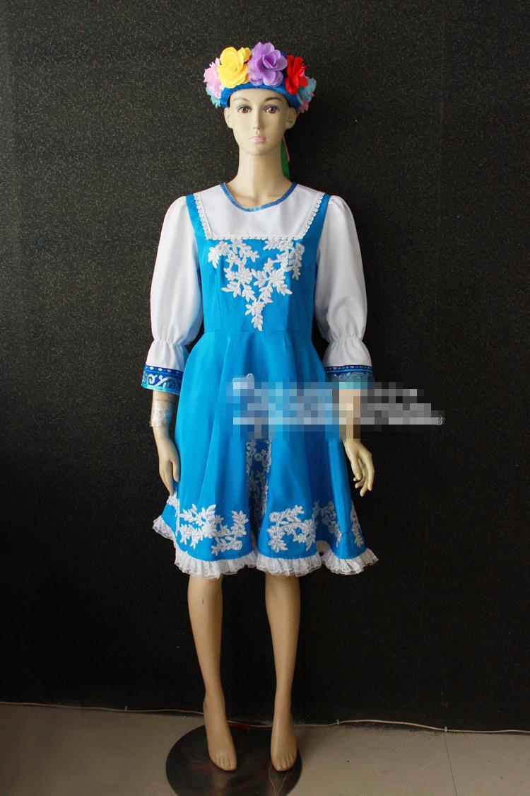 Traditional Russian national costume dance Fashion blue jumpsuit women summer dress russia dance ...